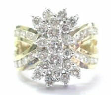 Fine Round Cut Diamond Cluster Yellow Gold Jewelry Ring 2.00Ct G - VS