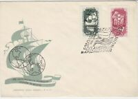 Polish 1958 Arrival of First Poles to America Ships FDC Stamp Cover ref 23013