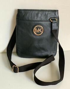NEW! MICHAEL KORS MK FULTON LEATHER CROSSBODY SLING BAG PURSE BLACK $158 SALE