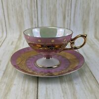 VTG LM Royal Halsey Very Fine Tea Cup And Saucer Pink Gold Lusterware Moriage