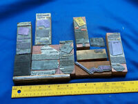 10 Antique Letterpress LOT Block Printer Advertising Cameo Leather VTG Wood #15