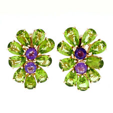 Large 14K Rose Gold Pear Green Peridot & Amethyst Happy Colorful Cluster Earring