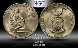 1944-S USA-PHILIPPINES 5 CENTAVOS NGC MS66 ONLY 5 GRADED HIGHER #J