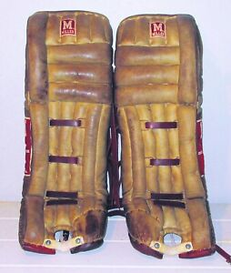 Vintage leather pro Miller hockey goalie pads 35""