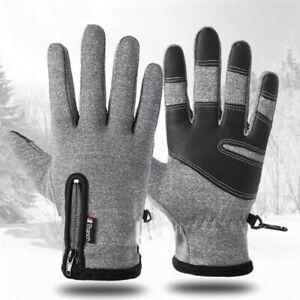 Mens Winter Gloves Waterproof Touch Screen Running Sports Winter Warm Gray UK