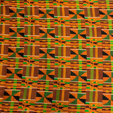 Kente African Print Fabric 100% Cotton 44'' wide sold by the yard (90195-1)