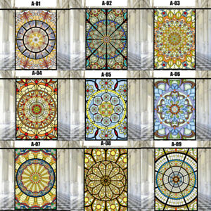 Static Cling Window Film Church Chapel Stained Glass Stickers Closet Decor Retro