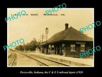 OLD LARGE HISTORIC PHOTO OF PERRYSVILLE INDIANA, RAILROAD DEPOT STATION c1920
