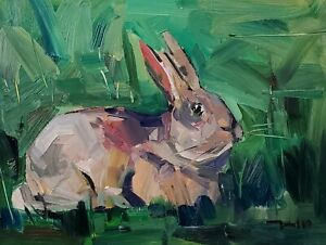 JOSE TRUJILLO Oil Painting IMPRESSIONISM 12X16 CONTEMPORARY MODERN BUNNY SIGNED