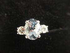 Platinum Art Deco Style Aquamarine And Diamond Trilogy 3 Stone Ring