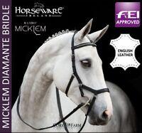Horseware Rambo MICKLEM ENGLISH LEATHER DIAMANTE Competition Bridle Black P/C/F