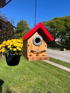 """Simply"" Bird House ,Outdoor Hanging Wood Hand-Made Bird House"