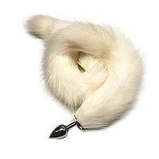 80cm Super Long White Fox Tail Metal_Butt_Plug_Anal_Sex Love Toys For Female Men