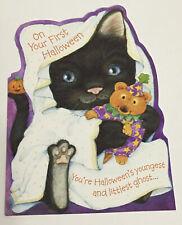 Baby's 1st First Halloween Black Cat Kitten Greeting Card New Unused Hallmark