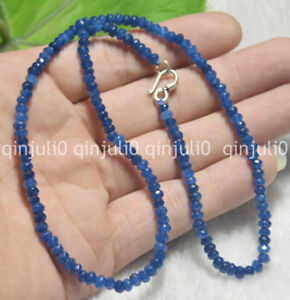 """2x4mm Sapphire FACETED Rondelle Beads Necklaces 17-24"""" Silver Clasp JN1386"""