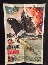 The Valiant 1962 One Sheet Movie Poster John Mills Navy Ship Boat Captain War