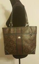 Coach Tote Bag / Shoulder Handbag Brown & Black Signature C Purse F15137