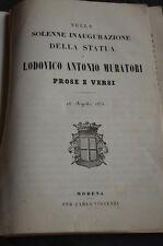 Libro - Solenne inaugurazione statua Muratori Modena 1853 Vincenzi lit. Goldoni