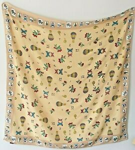 YUMI Large Cream Cotton Scarf Hot Air Balloons Butterflies Numbers