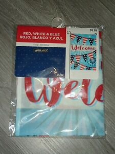 RED WHITE AND BLUE WELCOME  FLAG 12 BY 18