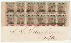 1891 BRITISH GUIANA BLOCK OF 12 INLAND REVENUE RED OVERPRINTED ONE CENT ON $3