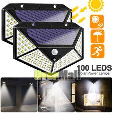 2x 100LED Solar Power Light PIR Motion Sensor Security Outdoor Garden Wall Lamp