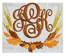 Autumn Wheat Leaves Acorn MONOGRAMMED Embroidered Cloth 6 White Napkins