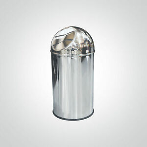 NEW Dolphin BC103 Polished Stainless Steel Trash Can Rubbish Bin Restroom Office