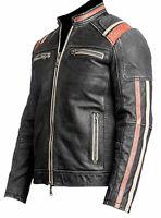 Men's Vintage Biker Retro 3 Motorcycle Cafe Racer Distressed Leather Jacket