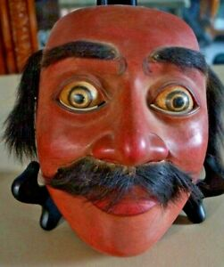 Antique Rare Japanese Theater Mask Man Real Hair, Mustache, Eyebrows Carved Wood