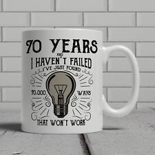 70th Birthday Light Bulb Happy Present Gift Mug Idea Men Women Dad Mum