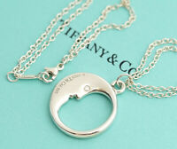 TIFFANY & Co. Moon face Necklace Sterling Silver 925 Double Chain SV925