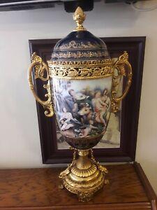 Antique  French Sevres Porcelain hand painted Big Vase Gold enameled . Rare