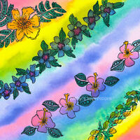 Hawaiian Rainbow Flowers Fabric Panel Lei Quilt Square Colorful Tropical Coastal
