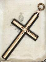 Large Victorian 9 ct gold pique cross pendant religious christian