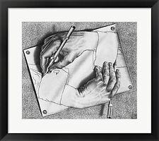 M.C. Escher Drawing Hands, Framed W/Mat 26x23