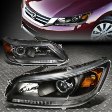 For 2013-2015 Honda Accord Pair Black Housing Amber Corner Projector Headlight (Fits: Honda)