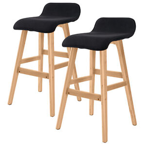 2 x Oak Wood Bar Stool Wooden Barstool Dining Chair Kitchen Fabric SOPHIA BLACK
