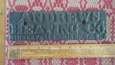 Antique Cast Iron ANDREWS HEATING CO. MINNEAPOLIS, MINN Name Plate,Plaque