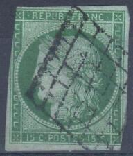 "FRANCE STAMP TIMBRE N° 2 "" TYPE CERES 15c VERT 1850 "" OBLITERE A VOIR  M296"