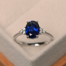 14K White Gold Real 2.15 Ct Oval Cut Natural Diamond Natural Blue Sapphire Ring