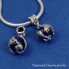 Silver and Sapphire Blue EARTH GLOBE World Map EUROPEAN Dangle Bead CHARM