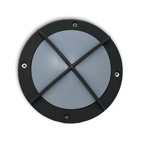 Round Grey Mini  Bulkhead Wall Garden Lights Outdoor IP65 Waterproof
