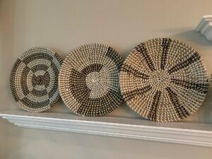 "MARLIC Set of 3 Handwoven Wall Baskets 14""- Rustic Circle Decor Hanging Basket"