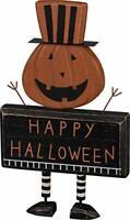 "Primitives by Kathy Halloween Chunky Sitter Pumpkin Wood Jack O Lantern - 11"""