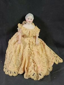 Vintage Antique Miniature Bisque Porcelain Old Grey Hair Lady Doll Jointed