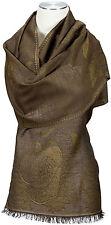 Schal Braun Wolle wool Modal scarf stole écharpe foulard Brown Floral