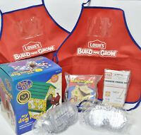 Kids Wood Craft Project Building Kit Package: 3 Kits, 2 aprons, 2 safety goggles