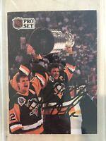 Mario Lemieux Signed 1991-92 Pro Set Card Pittsburgh Penguins