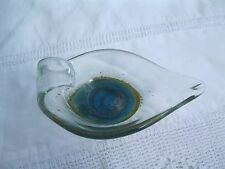 Mdina glassware .Cobalt blue/ gold base .Shape of an oriental slipper